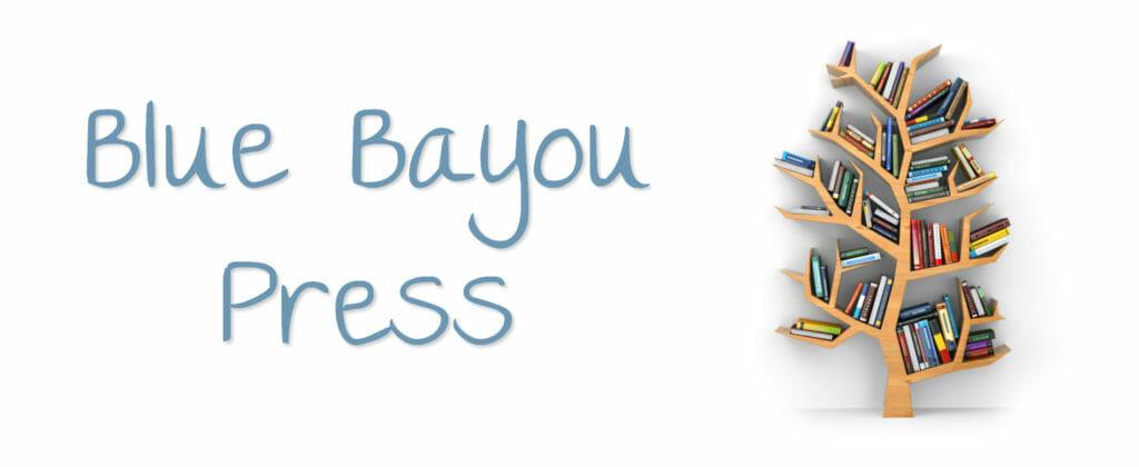 Blue Bayou Press header Image tree shaped bookshelf with books